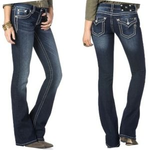Miss Me Dark Wash Border Bootcut Jeans Low Rise